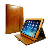 apple ipad 4 ac slimstand case vintage leather brown olive stripe 01 3 2
