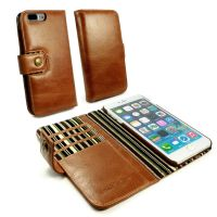 Alston Craig Vintage Genuine Leather Wallet Case Cover for Apple iPhone 7 Plus - Brown