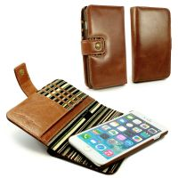 Alston Craig Genuine Vintage Leather Magnetic E-Scape Tec Wallet Case Cover (with RFID Blocking) for iPhone 7 Plus - Brown